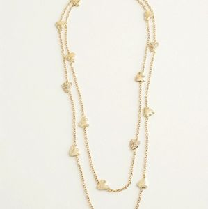 WHBM Long Goldtone Pave Heart Necklace